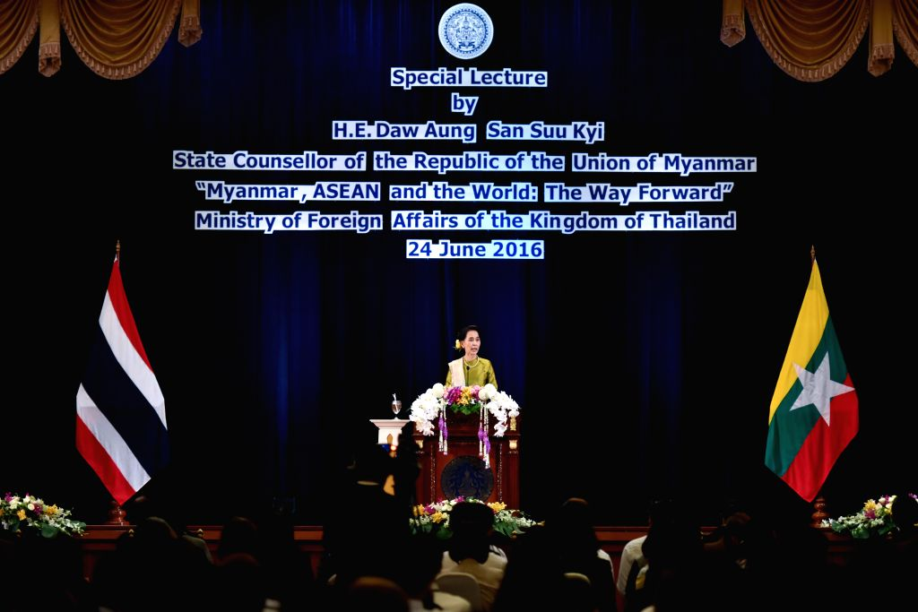 "BANGKOK, June 24, 2016 - Myanmar State Counsellor and Foreign Minister Aung San Suu Kyi delivers a lecture entitled ""Myanmar, ASEAN and the World: The Way Forward"" at the Thai Ministry of ... - Aung San Suu Kyi"