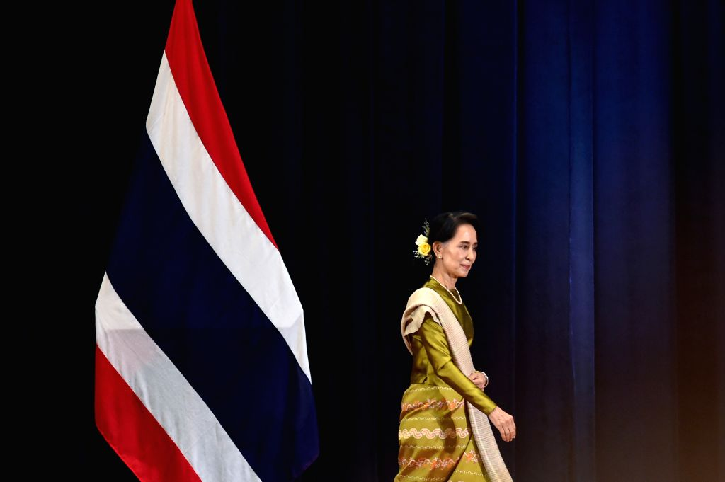"BANGKOK, June 24, 2016 - Myanmar State Counsellor and Foreign Minister Aung San Suu Kyi walks to deliver a lecture entitled ""Myanmar, ASEAN and the World: The Way Forward"" at the Thai ... - Aung San Suu Kyi"