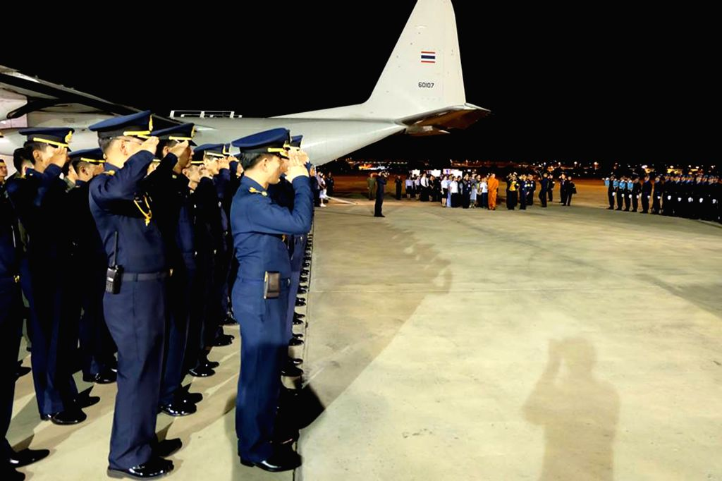 BANGKOK, June 29, 2016 - The three men's bodies are mourned by the Thai air force Wing 6 at the Don Mueang air force base in Bangkok, Thailand, June 29, 2016. Search team found the wreckage of a ...