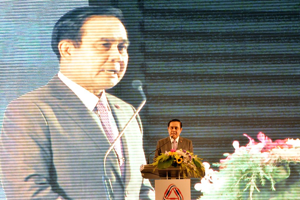 Thai Prime Minister Prayuth Chan-ocha delivers a speech on promotion of the competency of Thailand's trading at Plenary Hall, Queen Sirikit National Convention ... - Prayuth Chan
