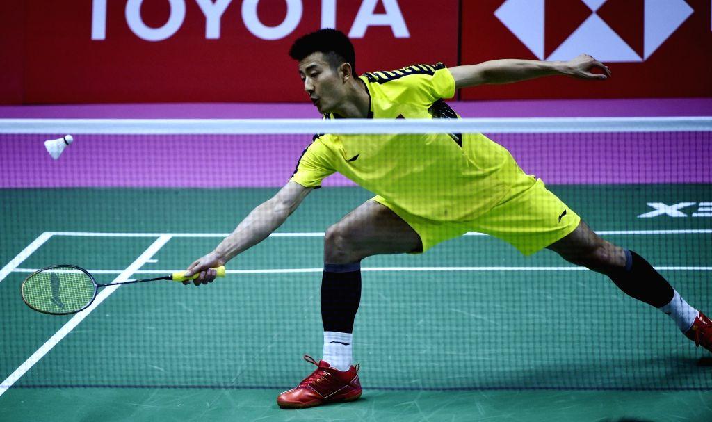 BANGKOK, May 20, 2018 - Chen Long of China returns a shot against Anthony Joe of Australia in the group match of Thomas Cup badminton championship in Bangkok, Thailand, May 20, 2018. Chen won 2-0.