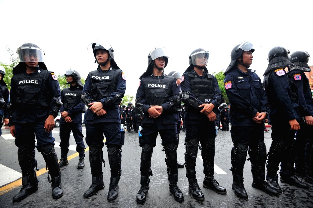 BANGKOK, May 22, 2018 - Thai police officers block pro-democracy protesters from marching toward Government House during a rally in Bangkok, Thailand, 22 May 2018.