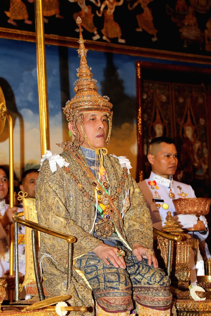 BANGKOK, May 4, 2019 - Thai King Maha Vajiralongkorn sits on the throne as he is officially crowned King at the Grand Palace, in Bangkok, Thailand, May 4, 2019. Thai King Maha Vajiralongkorn was ...