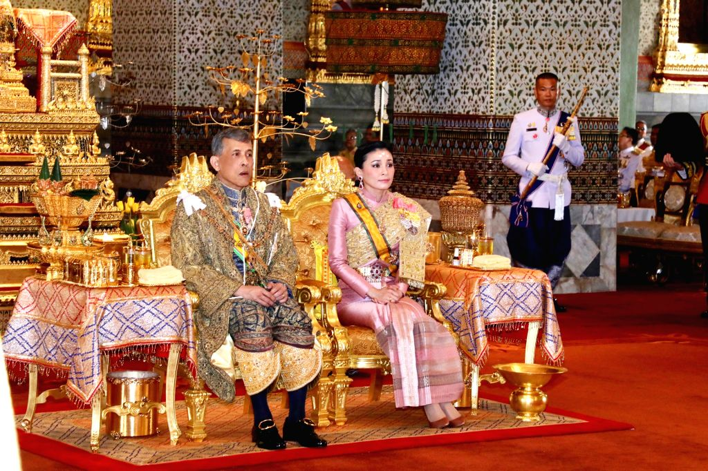 BANGKOK, May 4, 2019 - Thai King Maha Vajiralongkorn and Queen Suthida attend the coronation ceremony in Bangkok, Thailand, May 4, 2019. Thai King Maha Vajiralongkorn was crowned in Baisal Daksin ...