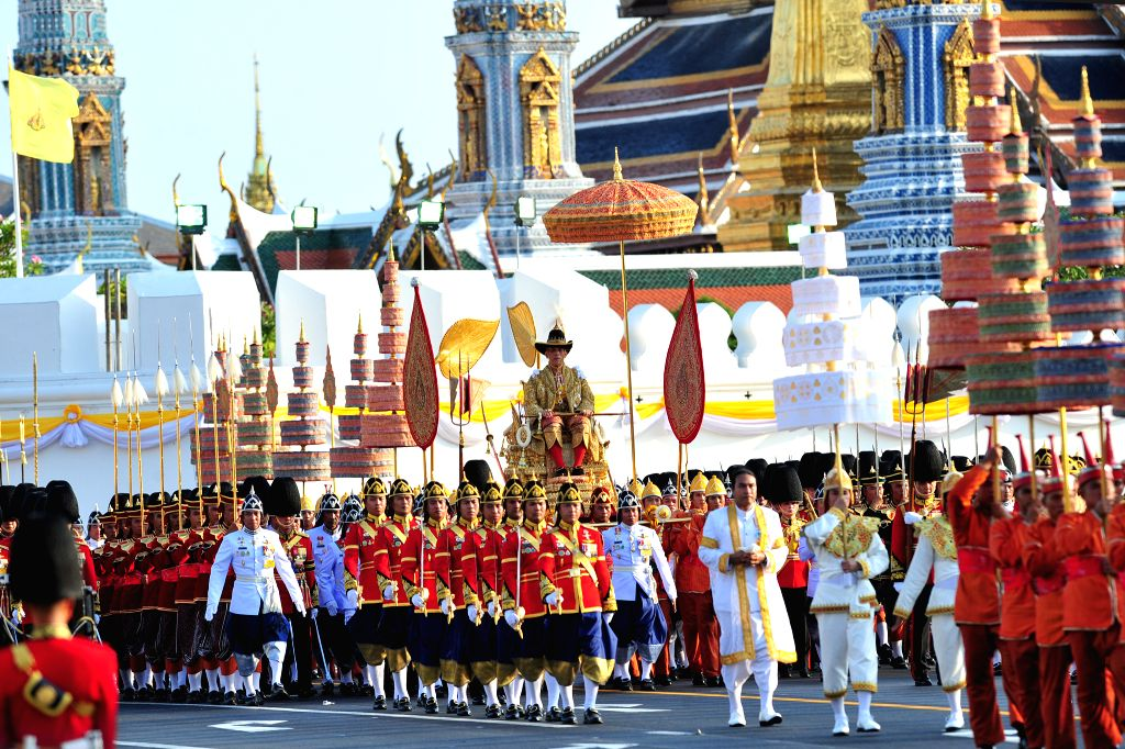 BANGKOK, May 5, 2019 - Thailand's King Maha Vajiralongkorn is carried on a palanquin through the streets outside the Grand Palace for the public to pay homage during the second day of his coronation ...