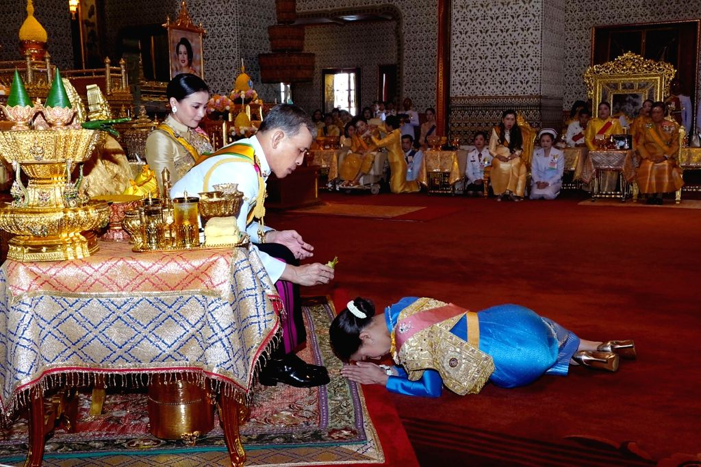 BANGKOK, May 6, 2019 - Thai King Maha Vajiralongkorn pours sacred water on the head of Princess Bajrakitiyabha to grant new title and royal medals to her in Grand Palace, Bangkok, Thailand, on May 5, ...