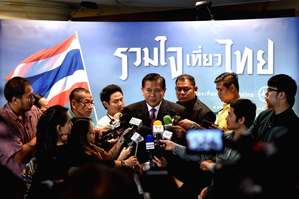 BANGKOK, Oct. 6, 2016 - Thai Deputy Prime Minister Thanasak Patimaprakorn answers to media about issue of minimum price for package tour of Chinese tourists in Bangkok, Thailand, on Oct. 6, 2016. ... - Thanasak Patimaprakorn