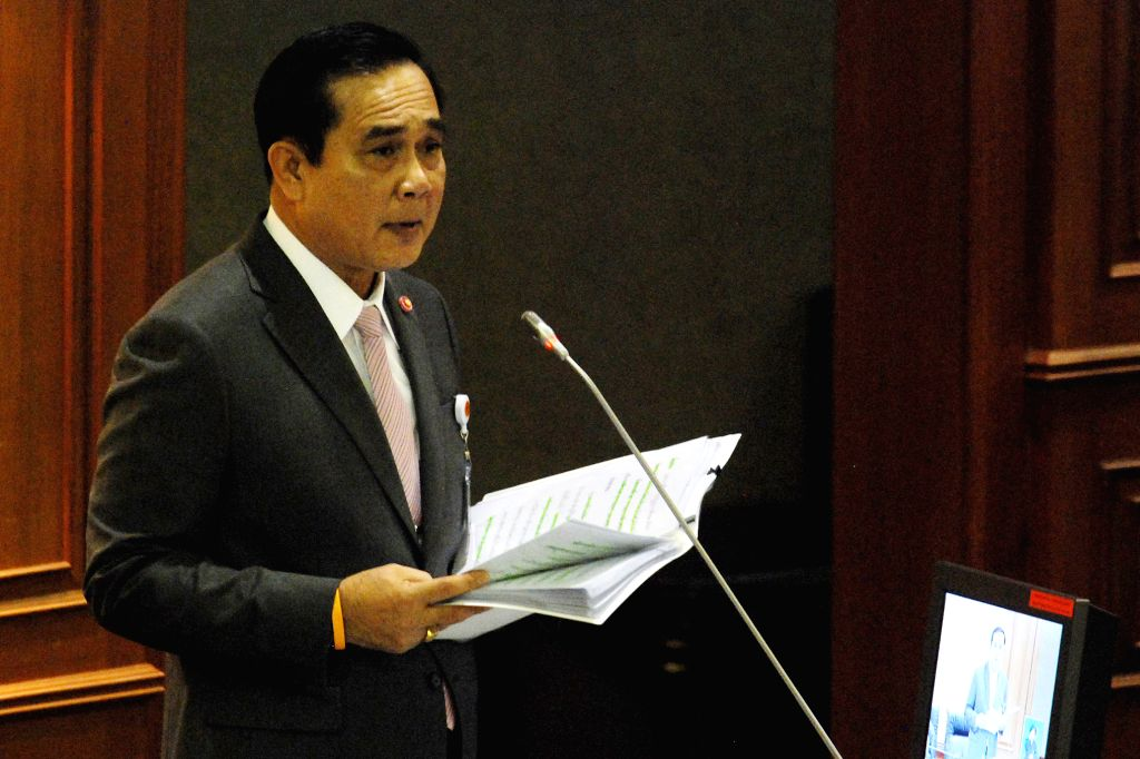 Thailand's Prime Minister Prayuth Chan-ocha delivers his government's policy statement at Thai parliament in Bangkok, Thailand, on Sept. 12, 2014. (Xinhua/Rachen ..
