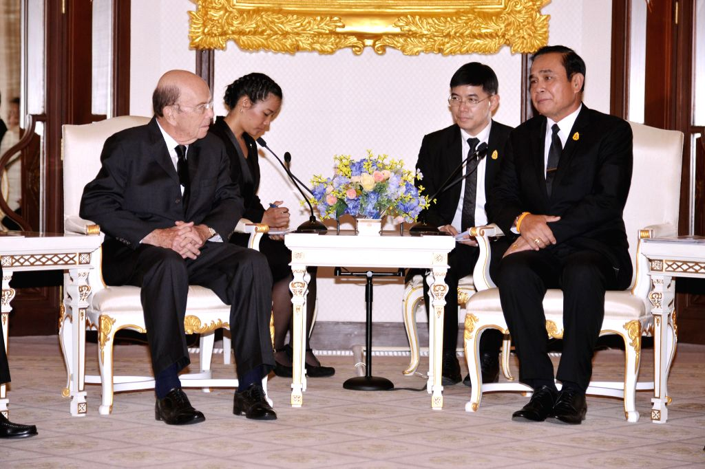 BANGKOK, Sept. 27, 2017 - In this government handout photo taken on Sept. 27, 2017, Thai Prime Minister Prayuth Chan-ocha (1st R) meets with U.S. Secretary of Commerce Wilbur Ross (1st L) in Bangkok, ... - Prayuth Chan