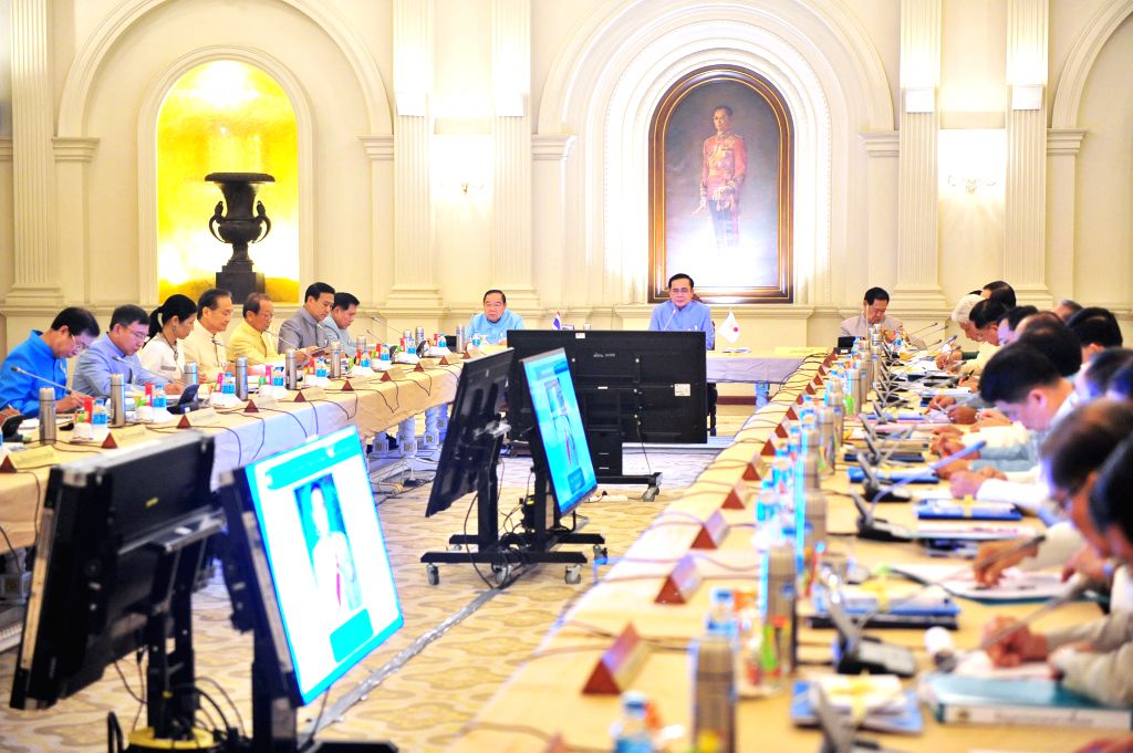 Thai military junta chief and newly-appointed Prime Minister General Prayuth Chan-ocha holds his first cabinet meeting at Government House in Bangkok, Thailand, on .. - General Prayuth Chan
