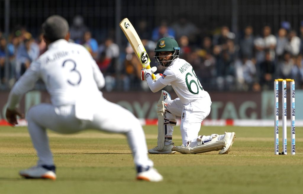 Bangladesh captain Mominul Haque in action on Day 1 of the 1st Test match between India and Bangladesh at Holkar Cricket Stadium in Indore, Madhya Pradesh on Nov 14, 2019. - Mominul Haque