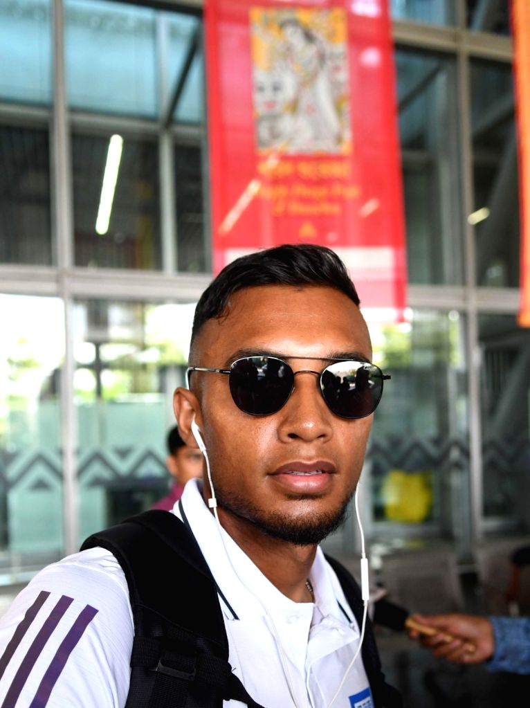 Bangladesh Football team led by its captain Jamal Bhuyan arrives at at Netaji Subhash Chandra Bose International Airport in Kolkata on Oct 11, 2019. - Jamal Bhuyan