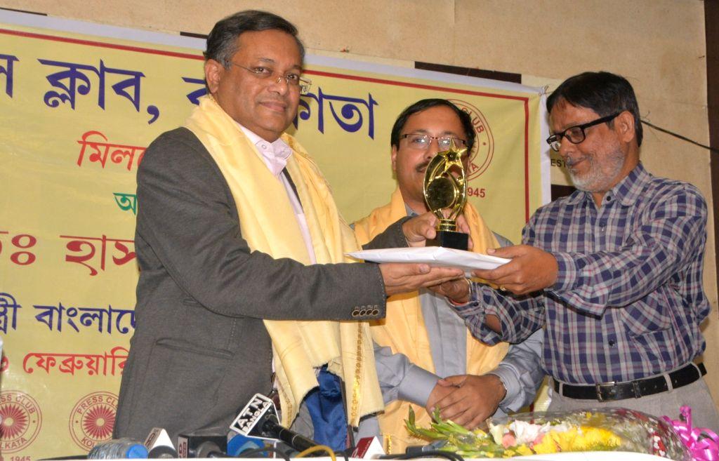 Bangladesh Information Minister Dr Hasan Mahmud duirng a programme at Press Club in Kolkata on Feb 16, 2019. - D