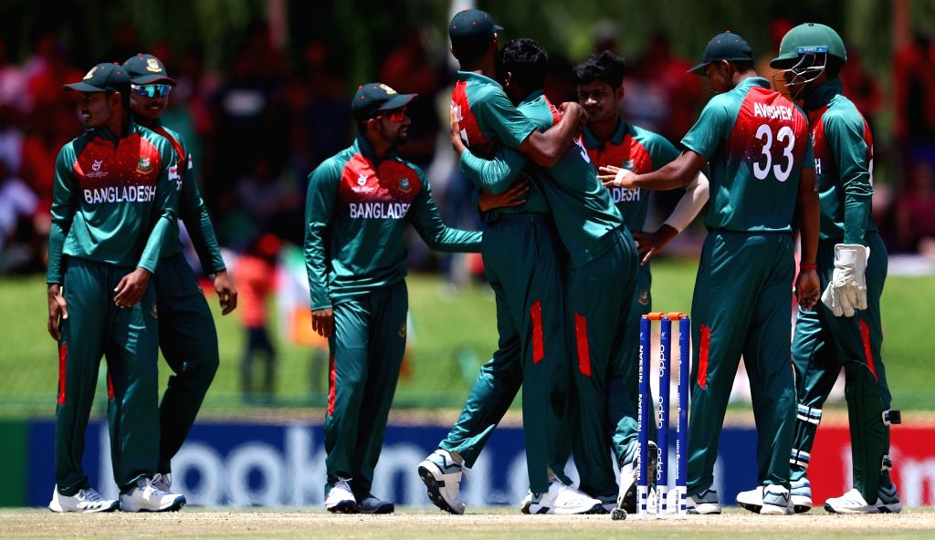 Bangladesh players celebrate the dismissal of DC Jurel during the ICC U19 World Cup final between India and Bangladesh, in Potchefstroom, South Africa on Feb 9, 2020.