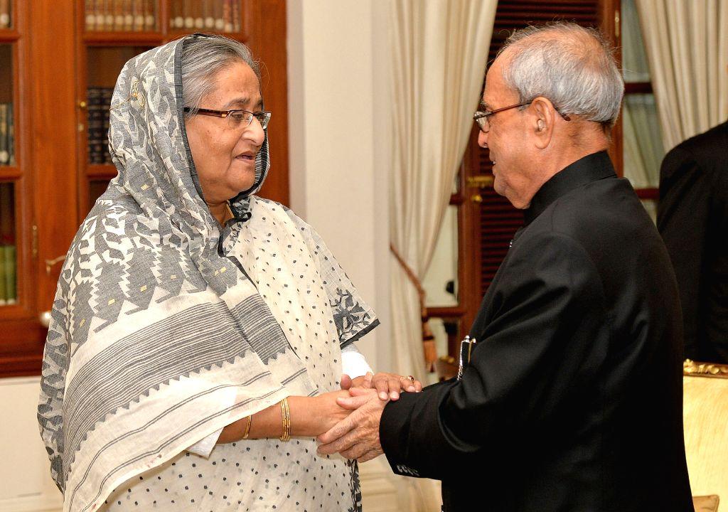 Bangladesh Prime Minister Sheikh Hasina meets President Pranab Mukherjee, at Rashtrapati Bhavan, in New Delhi on Aug 19, 2015. - Pranab Mukherjee