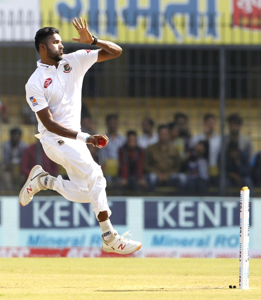Bangladesh's Ebadot Hossain in action on Day 2 of the 1st Test match between India and Bangladesh at Holkar Cricket Stadium in Indore, Madhya Pradesh on Nov 15, 2019.