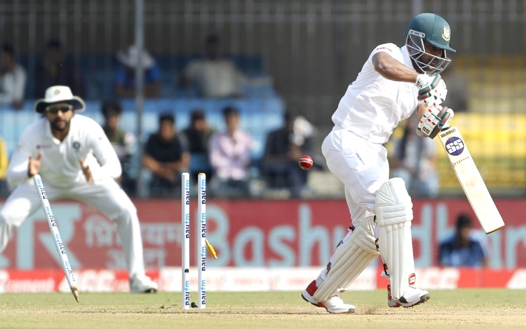 Bangladesh's Imrul Kayes bowled out on Day 3 of the 1st Test match between India and Bangladesh at Holkar Cricket Stadium in Indore, Madhya Pradesh on Nov 16, 2019.