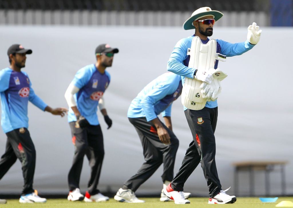 Bangladesh's Liton Das during a practice session ahead of the 1st Test match against India, at Holkar Cricket Stadium in Indore, Madhya Pradesh on Nov 12, 2019.