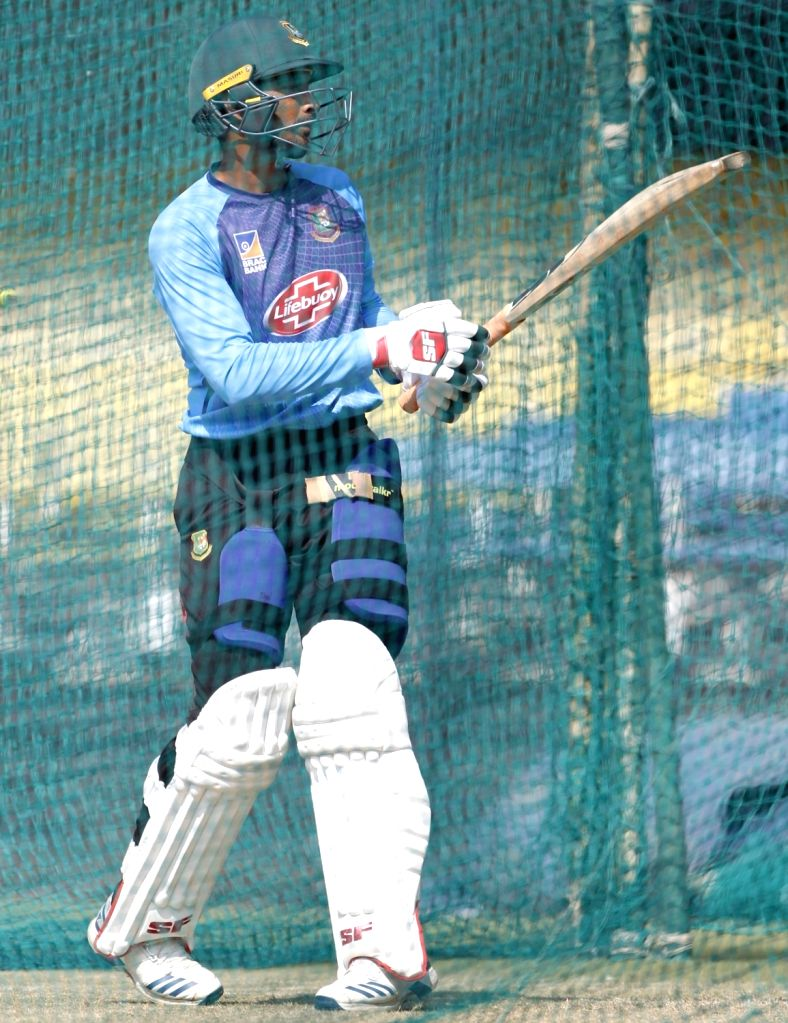 Bangladesh's Mahmudullah during a practice session ahead of the 1st Test match against India, at Holkar Cricket Stadium in Indore, Madhya Pradesh on Nov 12, 2019.