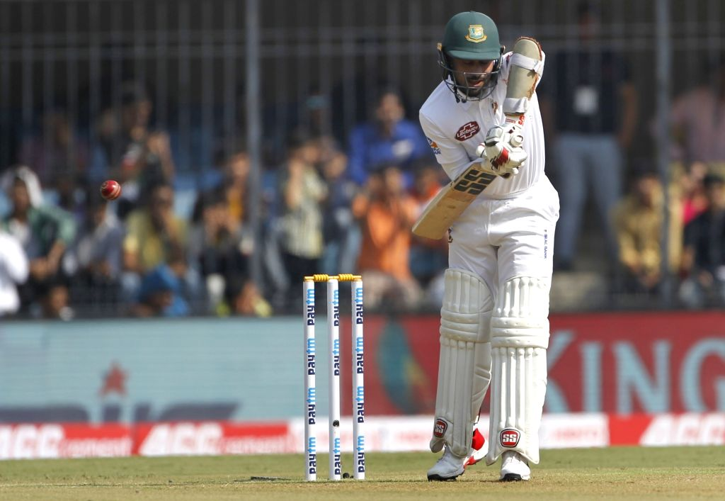 Bangladesh's Mohammad Mithun in action on Day 1 of the 1st Test match between India and Bangladesh at Holkar Cricket Stadium in Indore, Madhya Pradesh on Nov 14, 2019.