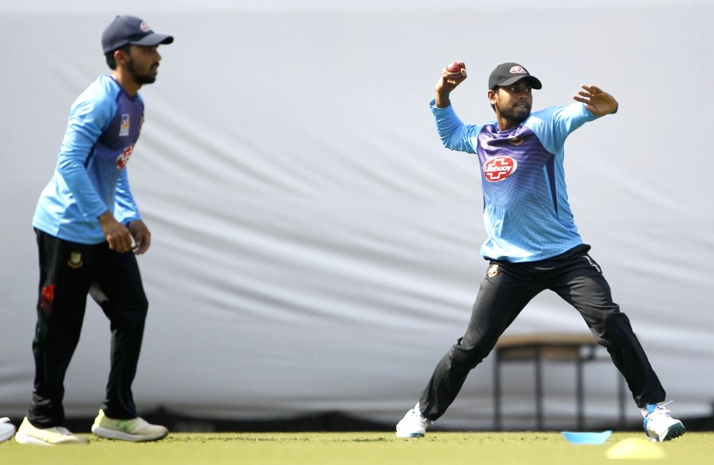 Bangladesh's Mominul Haque and Mehidy Hasan during a practice session ahead of the 1st Test match against India, at Holkar Cricket Stadium in Indore, Madhya Pradesh on Nov 12, 2019.