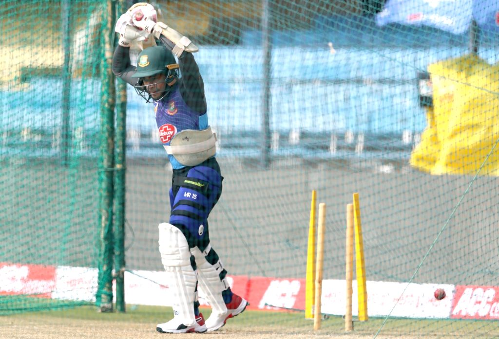 Bangladesh's Mushfiqur Rahim during a practice session ahead of the 1st Test match against India, at Holkar Cricket Stadium in Indore, Madhya Pradesh on Nov 13, 2019.