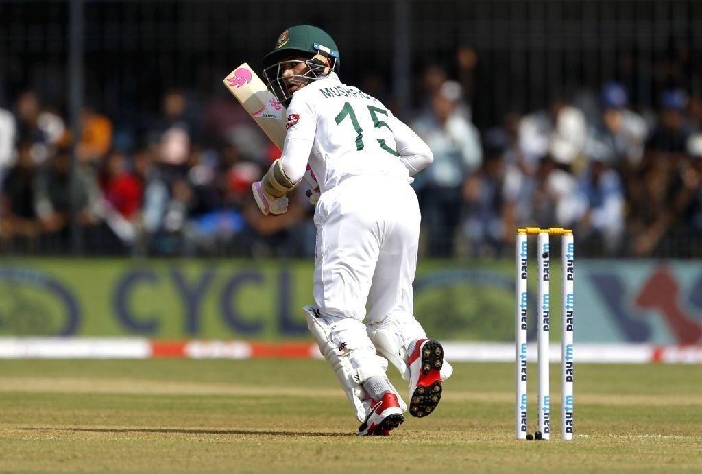 Bangladesh's Mushfiqur Rahim in action on Day 1 of the 1st Test match between India and Bangladesh at Holkar Cricket Stadium in Indore, Madhya Pradesh on Nov 14, 2019.
