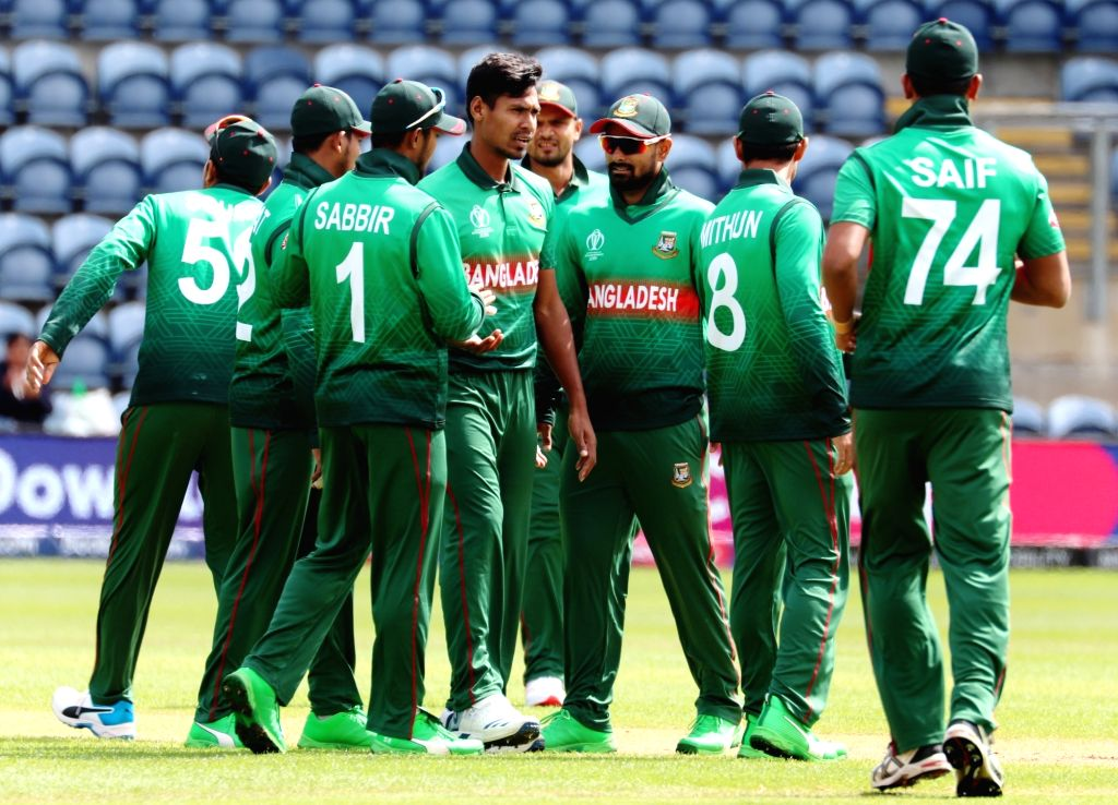 Bangladesh's Mustafizur Rahman celebrates fall of Shikhar Dhawan's wicket during the second warm-up match between India and Bangladesh at the Sophia Gardens in Cardiff, Wales on May 28, 2019.