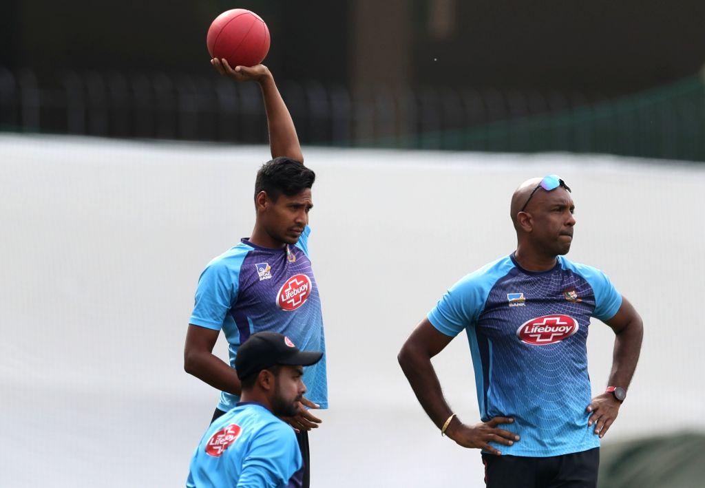 Bangladesh's Mustafizur Rahman during a practice session ahead of the 1st Test match against India, at Holkar Cricket Stadium in Indore, Madhya Pradesh on Nov 13, 2019.