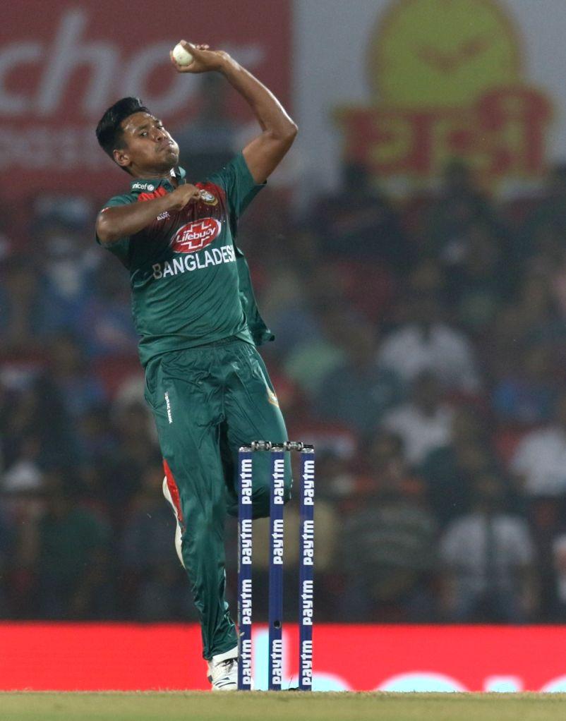 Bangladesh's Mustafizur Rahman in action during the 3rd T20I match between India and Bangladesh at Vidarbha Cricket Association Stadium in Nagpur on Nov 10, 2019.