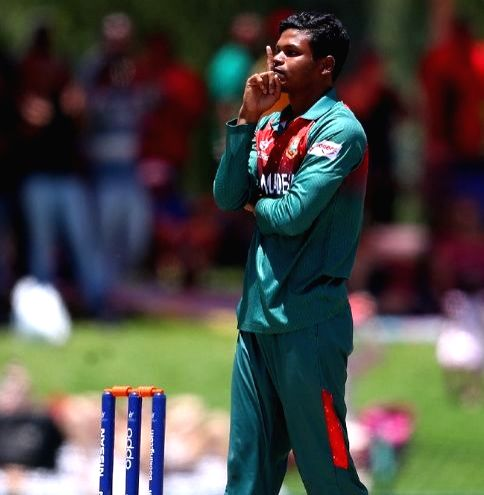 Bangladesh's Rakibul Hasan during the ICC U19 World Cup final between India and Bangladesh, in Potchefstroom, South Africa on Feb 9, 2020.