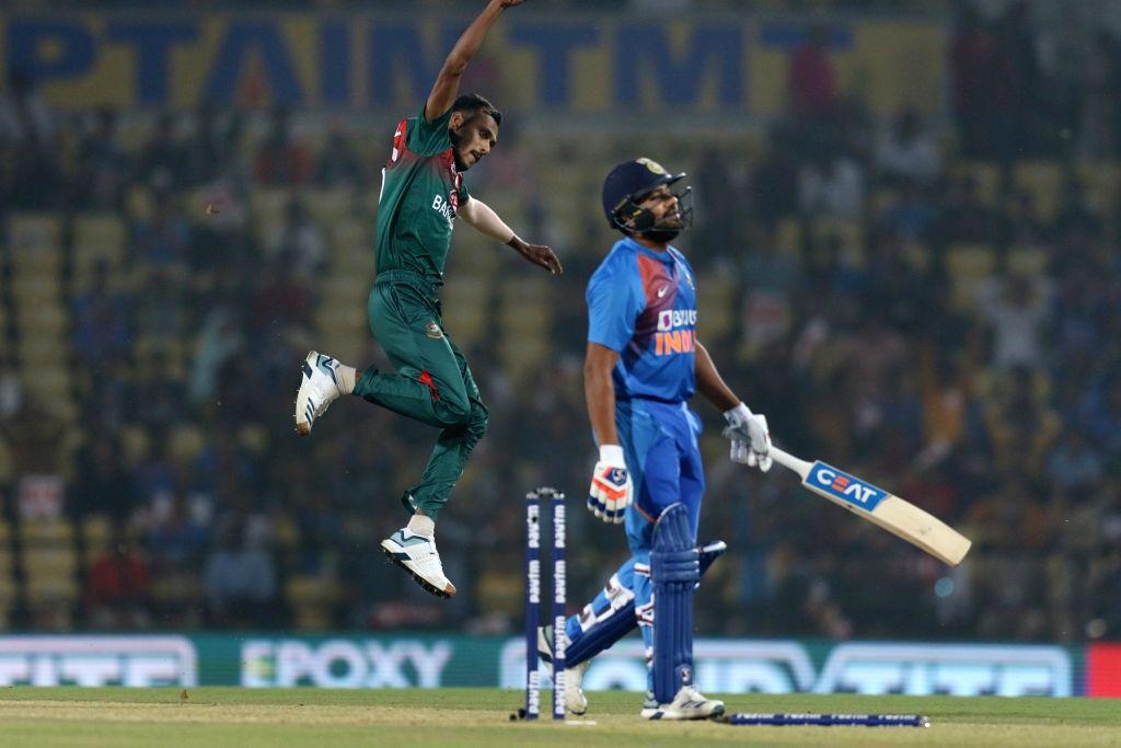 Bangladesh's Shafiul Islam celebrates fall of Rohit Sharma's wicket during the 3rd T20I match between India and Bangladesh at Vidarbha Cricket Association Stadium in Nagpur on Nov 10, 2019. - Rohit Sharma