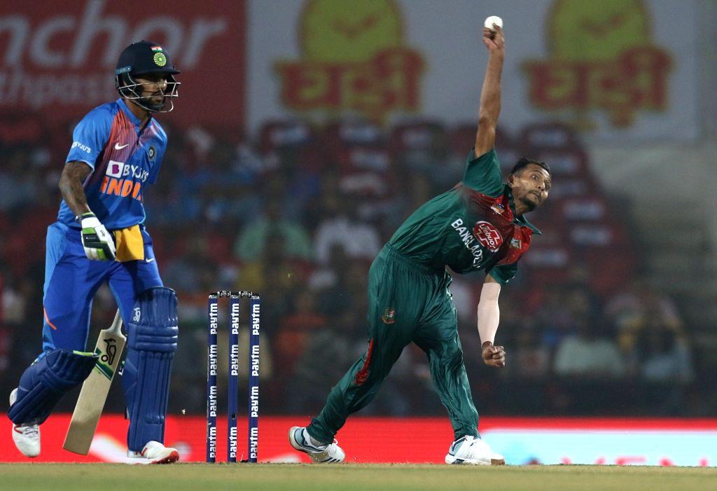 Bangladesh's Shafiul Islam in action during the 3rd T20I match between India and Bangladesh at Vidarbha Cricket Association Stadium in Nagpur on Nov 10, 2019.