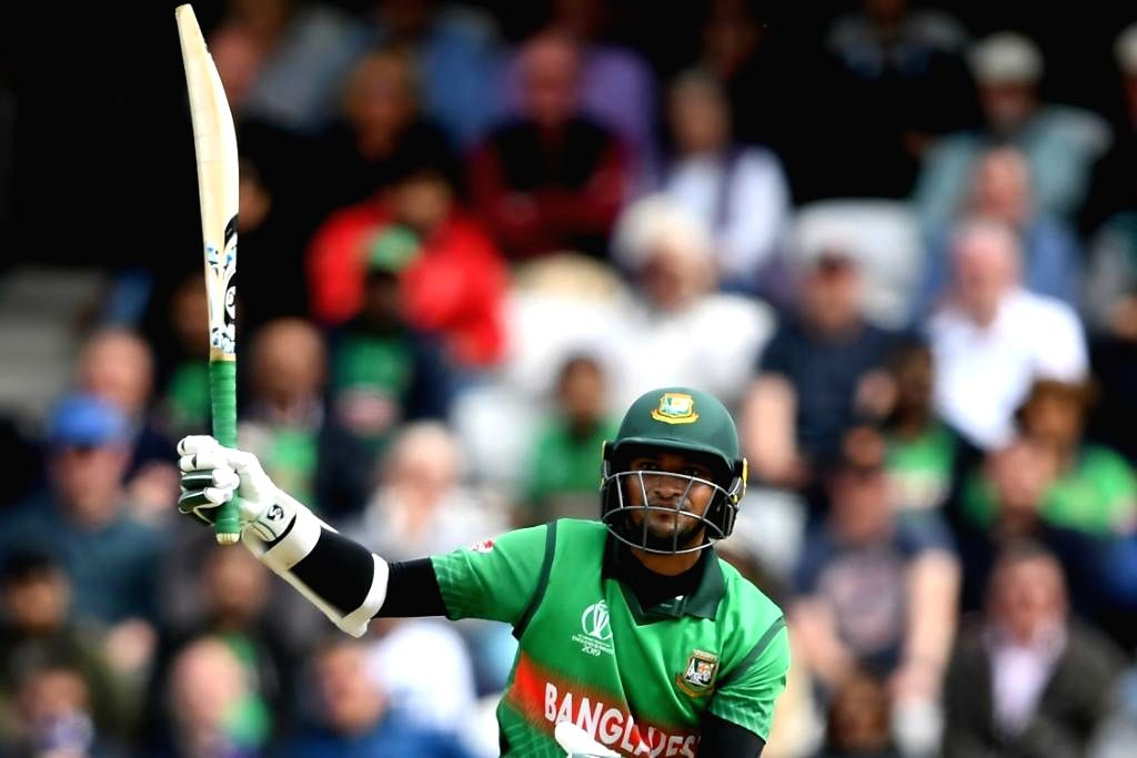 Bangladesh's Shakib Al Hasan celebrates his century during the 23rd match of 2019 World Cup between Bangladesh and West Indies at The Cooper Associates County Ground in Taunton, England on ...