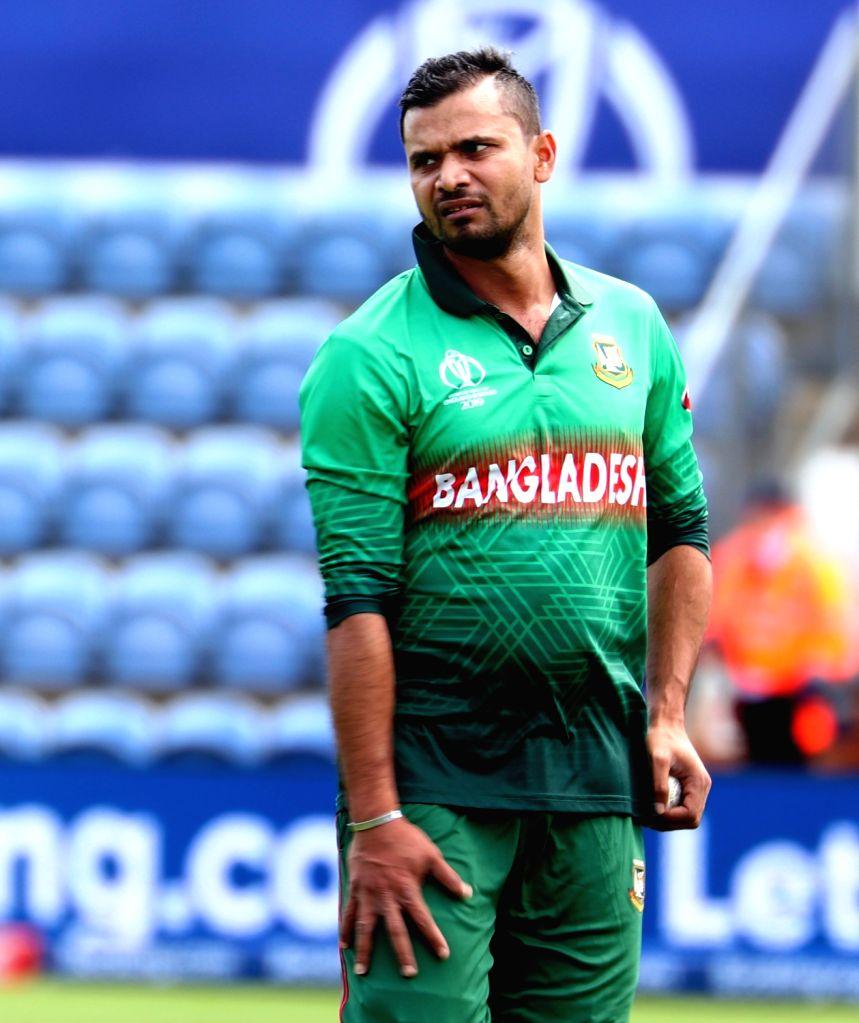 Bangladesh's skipper Mashrafe Mortaza during the second warm-up match between India and Bangladesh at the Sophia Gardens in Cardiff, Wales on May 28, 2019.