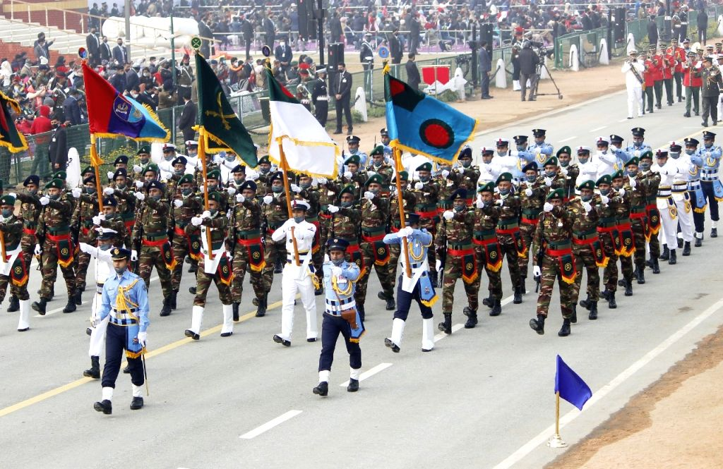 Bangladeshi Band participate in full dress rehearsal republic day 2021 in New Delhi on Friday.