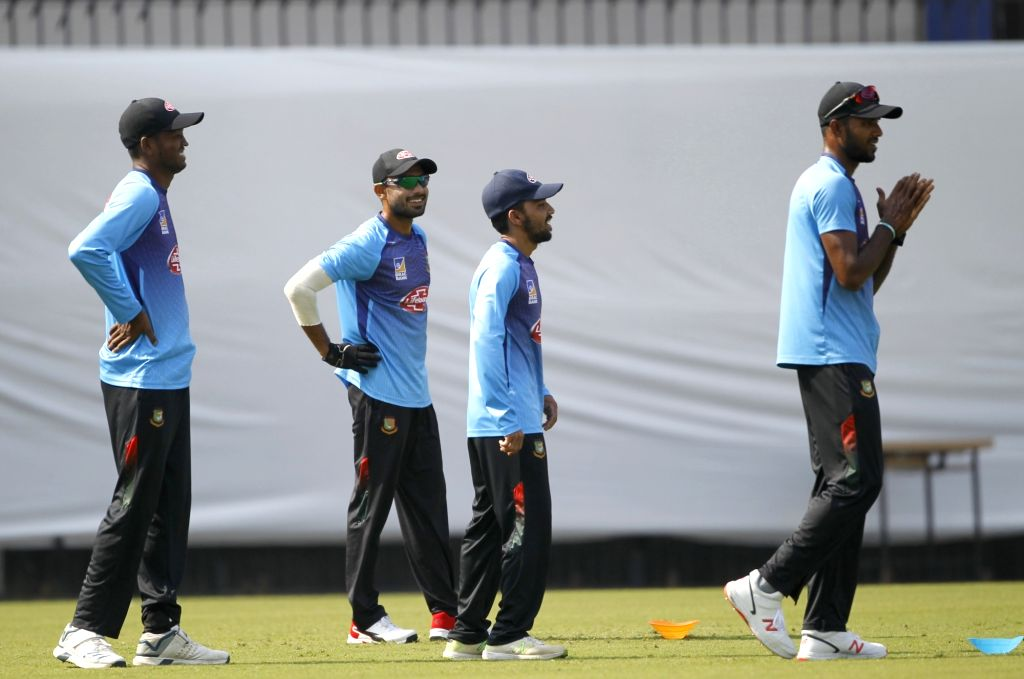 Bangladeshi cricketers during a practice session ahead of the 1st Test match against India, at Holkar Cricket Stadium in Indore, Madhya Pradesh on Nov 12, 2019.