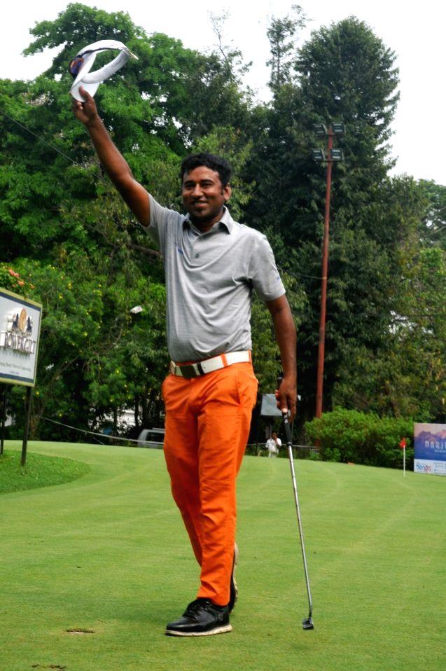 Bangladeshi golfer Zamal Hossain Mollah after winning Bengal Open Golf Championship 2019 at Tollygunge Club in Kolkata, on March 15, 2019.
