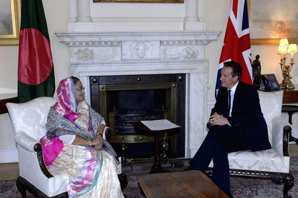 Bangladeshi Prime Minister, Sheikh Hasina during a meeting with British Prime Minister David Cameron in London, England on July 22, 2014.