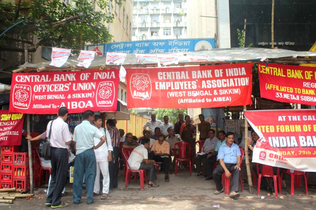 Bank employees stage a demonstration to protest against central government's policies for the banking sector, in Kolkata on July 29, 2016. Banking operations across the country were hit as ...