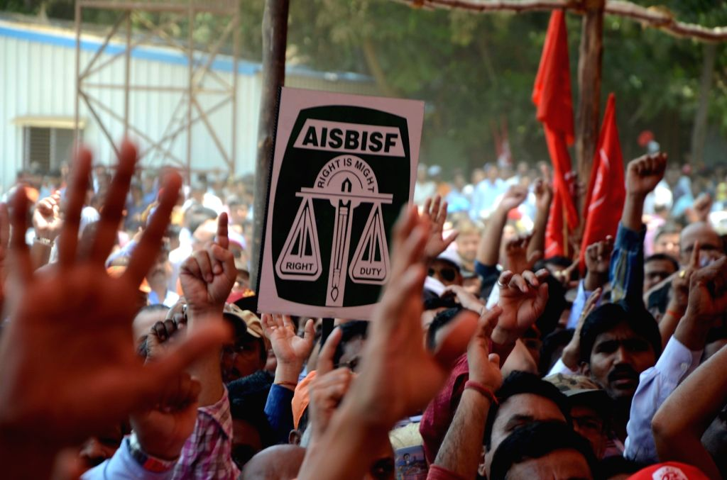Bankers stage a demonstration during a two-day nationwide bank strike spearheaded by the United Forum of Bank Unions (UFBU), an umbrella body of nine unions; at Azad Maidan in Mumbai on May ...