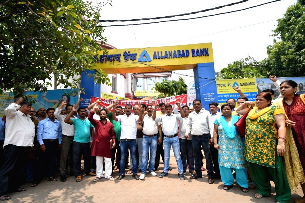 Bankers stage a demonstration outside Allahabad Bank during the second day of the nationwide bank strike spearheaded by the United Forum of Bank Unions (UFBU), an umbrella body of nine unions; ...