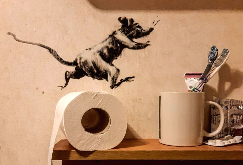 Banksy, the acclaimed anonymous British street artist, has revealed his latest artwork of a series of rats causing mayhem in his bathroom, while in lockdown amid the ongoing coronavirus pandemic, a media report said on Thursday.