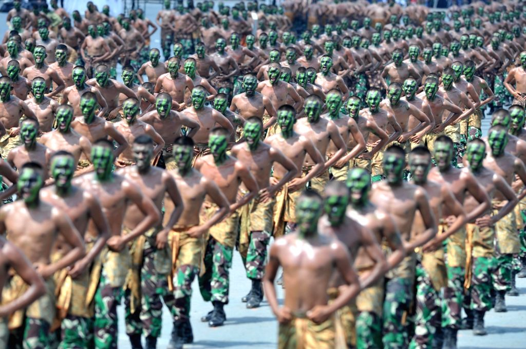 BANTEN (INDONESIA), Oct. 5, 2017 Indonesian soldiers attend a ceremony honoring the country's Armed Force Day in Banten, Indonesia, Oct, 5. 2017.