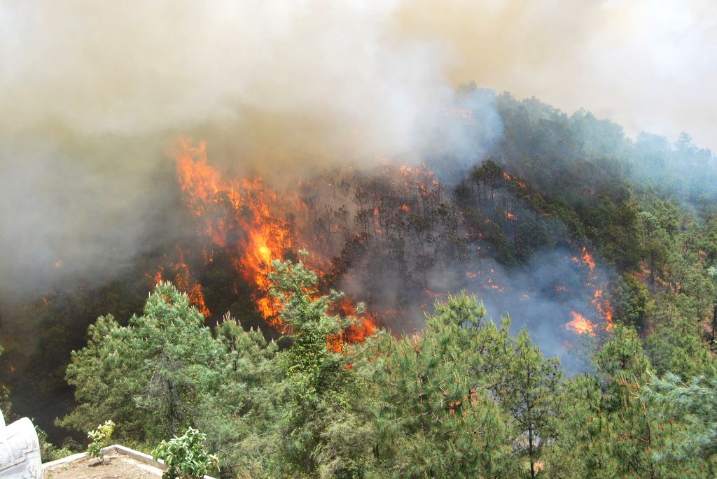 Fire devours forest on the Ninan Mountain in the Longyang District of Baoshan City, southwest China's Yunnan Province, April 14, 2014. The fire, which occurred ...