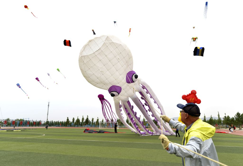 BAOTOU, June 15, 2019 - A participant flies a kite during a kite flying contest held in Baotou, north China's Inner Mongolia Autonomous Region, June 15, 2019.