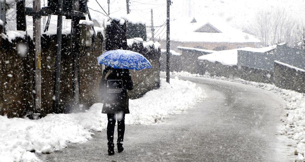 Baramulla: A woman shields herself with an umbrella as Baramulla, receives fresh snowfall, in Jammu and Kashmir's Baramulla district on Jan 7, 2020. (Photo: IANS)