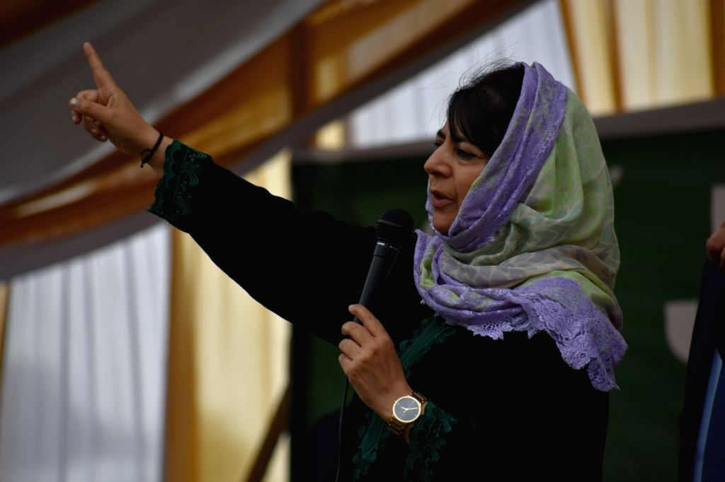 Baramulla: PDP President Mehbooba Mufti addresses during a public rally ahead of the 2019 Lok Sabha elections, in Jammu and Kashmir's Baramulla on April 6, 2019. (Photo: IANS) - Mehbooba Mufti