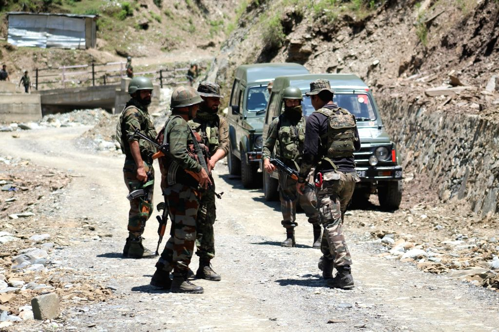 Baramulla: Security personnel during search operations after a non-local militant was killed in a gunfight with the security forces in Jammu and Kashmir's Baramulla district, on June 22, 2019. The encounter started in the morning between militants an