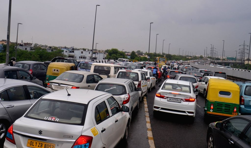 Barapullah flyover witnesses massive traffic jam after rains, in New Delhi on July 17, 2019.